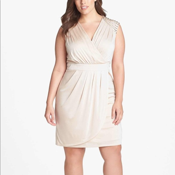 Vince Camuto Plus Size Embellished Faux Wrap Dress NWT